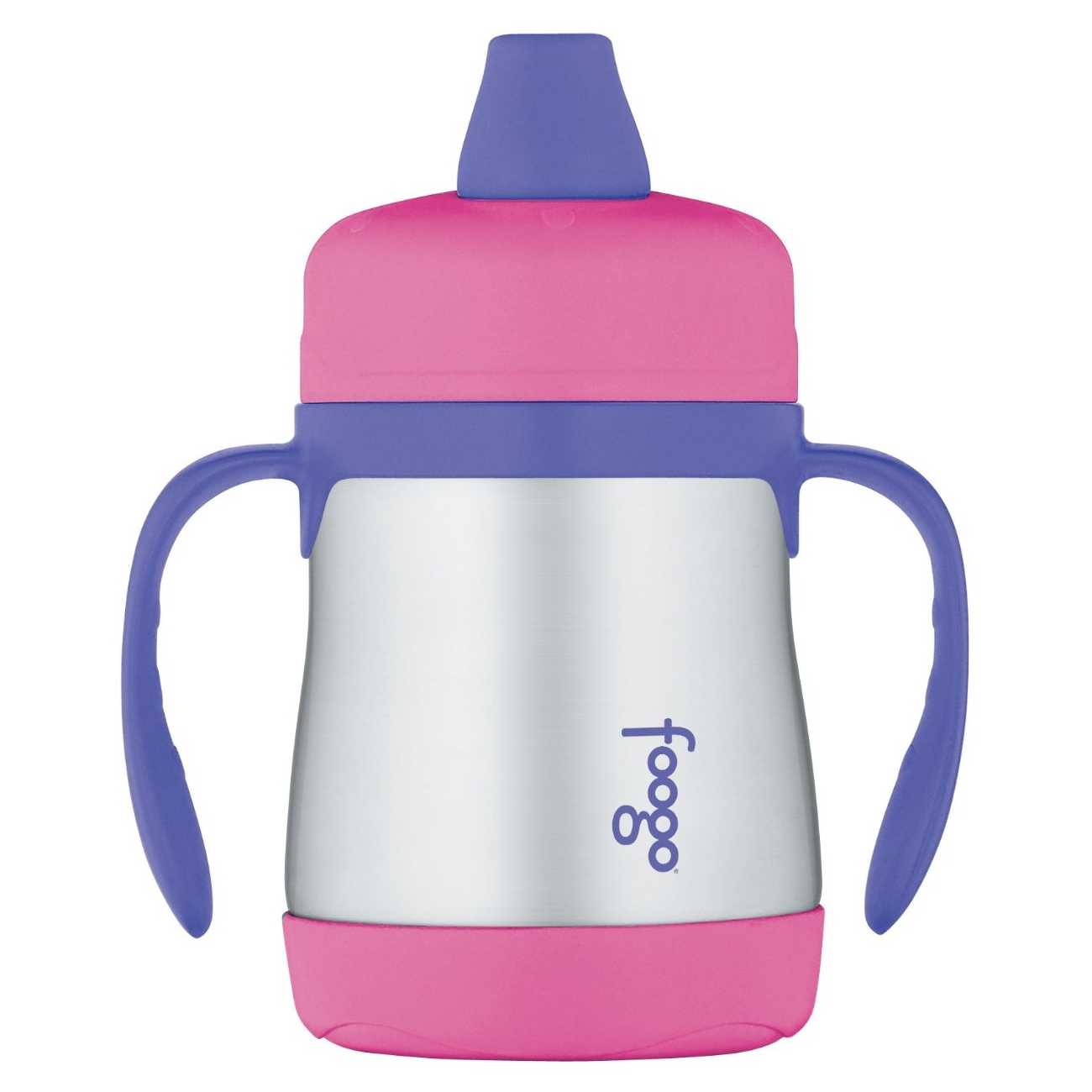 Thermos Foogo Pink with Purple Accents Stainless Steel Vacuum Insulated Soft Spout 7 Ounce Sippy Cup with Handles