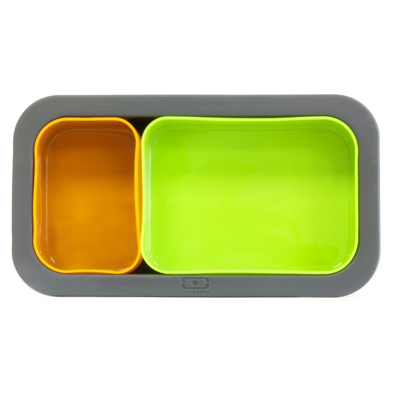 Monbento MB Silicase Grey Silicone Mold with Green and Orange Nesting Food Cups
