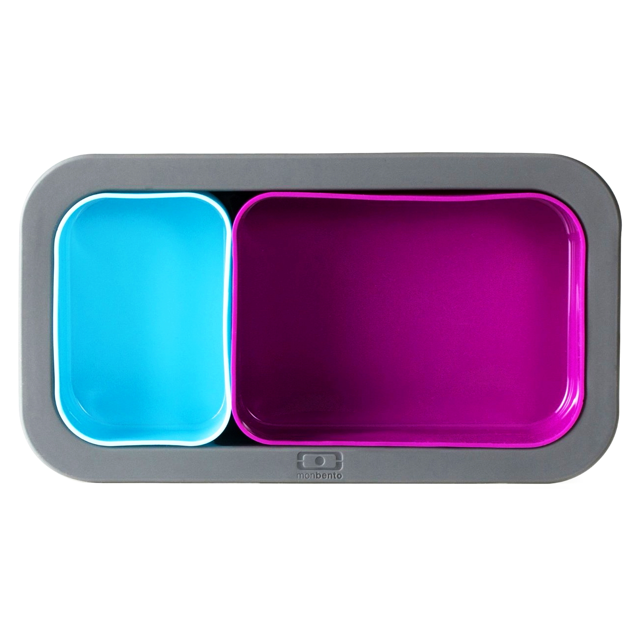 Monbento MB Silicase Grey Silicone Mold with Fuchsia and Light Blue Nesting Food Cups