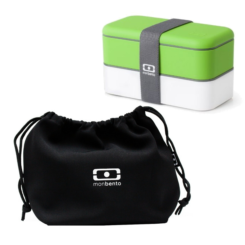 MB Original - V Grey Accent Bento Box Green/white & MB Pochette - Black Lunch bag Black/white Set