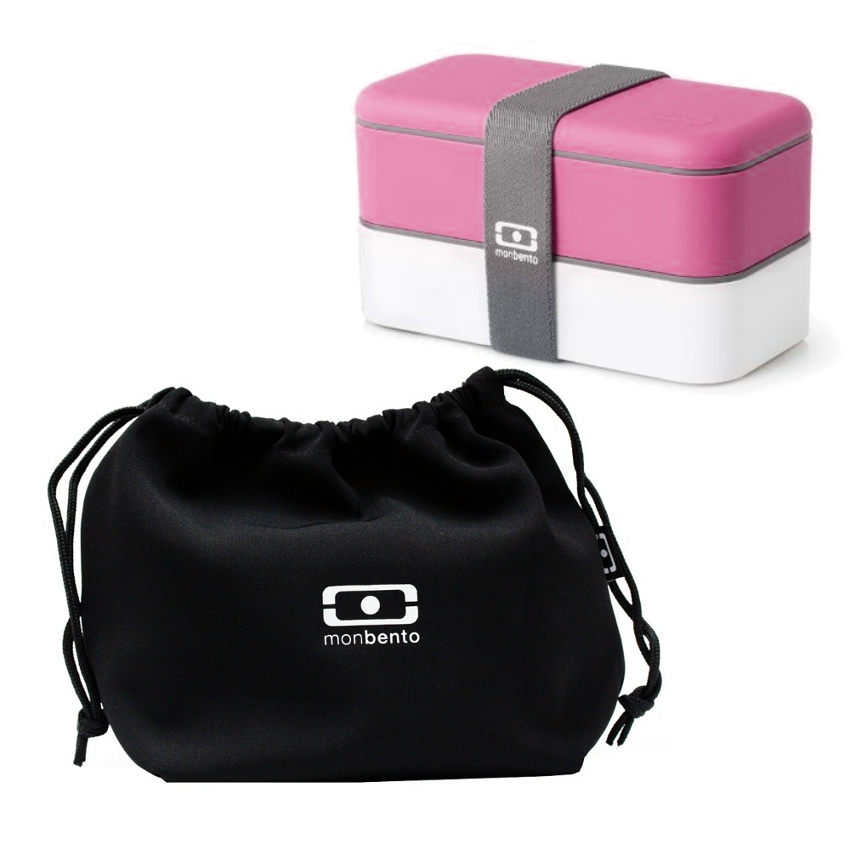 MB Original - V Grey Accent Bento Box Pink/white & MB Pochette - Black Lunch bag Black/white Set