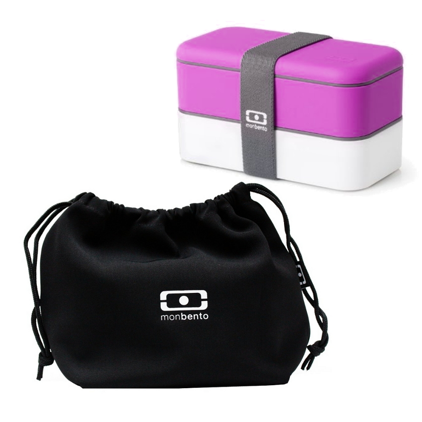 MB Original - V Grey Accent Bento Box Fuchsia/white & MB Pochette - Black Lunch bag Black/white Set