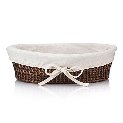 The French Chefs Rattan Bread Basket with Cotton Liner