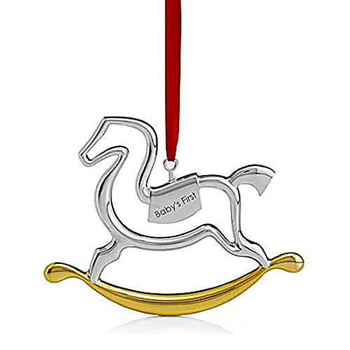 Nambe Holiday Silver Plate with Gold Accent Baby's First Rocking Horse Ornament