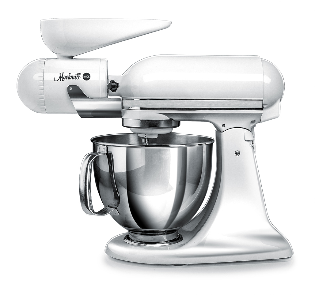 Mockmill KitchenAid White Metal and Ceramic Grain Mill Attachment