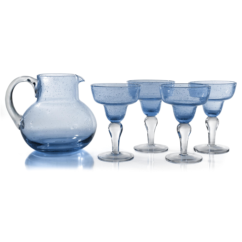 Artland Iris Seeded Light Blue 5 Piece Hand Blown Glass 2.8 Quart Pitcher and Margarita Glass Set