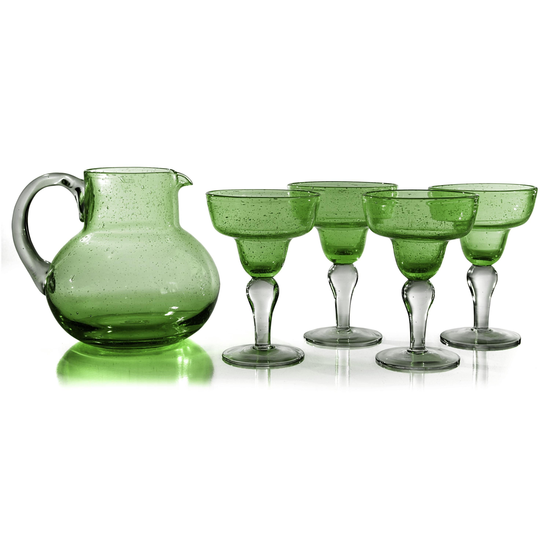 Artland Iris Seeded Sage 5 Piece Hand Blown Glass 2.8 Quart Pitcher and Margarita Glass Set