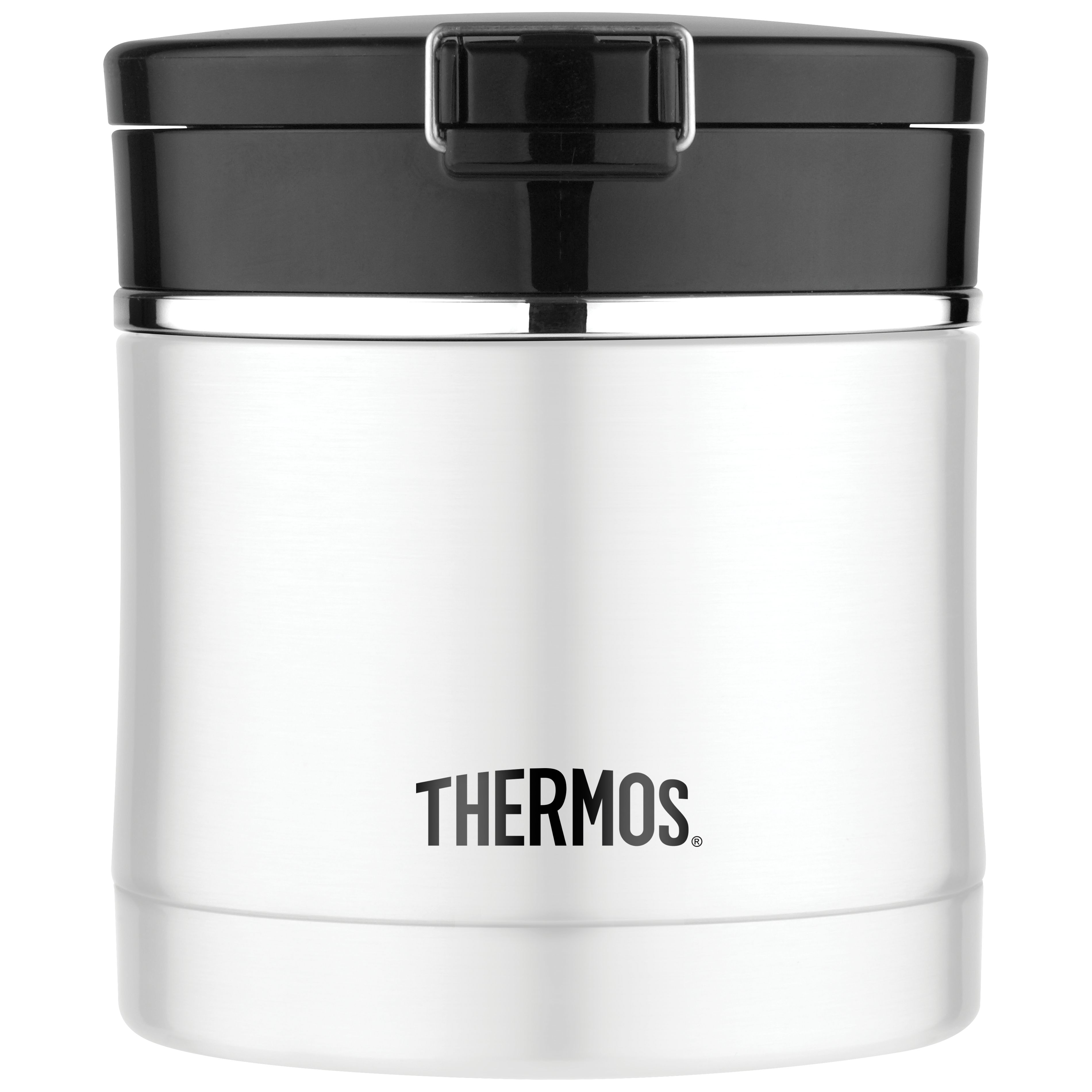 Thermos Sipp Stainless Steel and Black Vacuum Insulated 10 Ounce Flip Top Food Jar