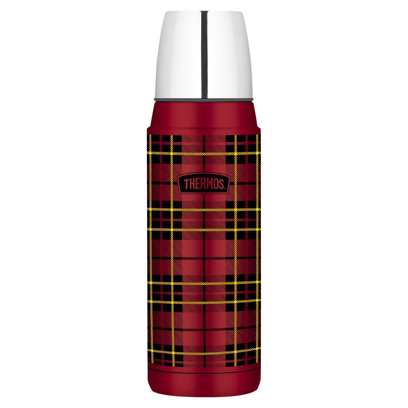 Thermos Heritage Red Plaid Stainless Steel 16 Ounce Vacuum Insulated Compact Bottle