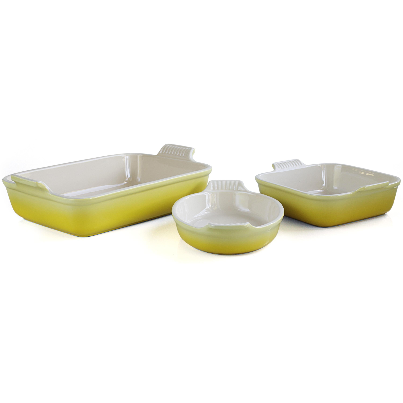 Le Creuset Heritage Soleil Yellow Stoneware 3 Piece Bakeware Set