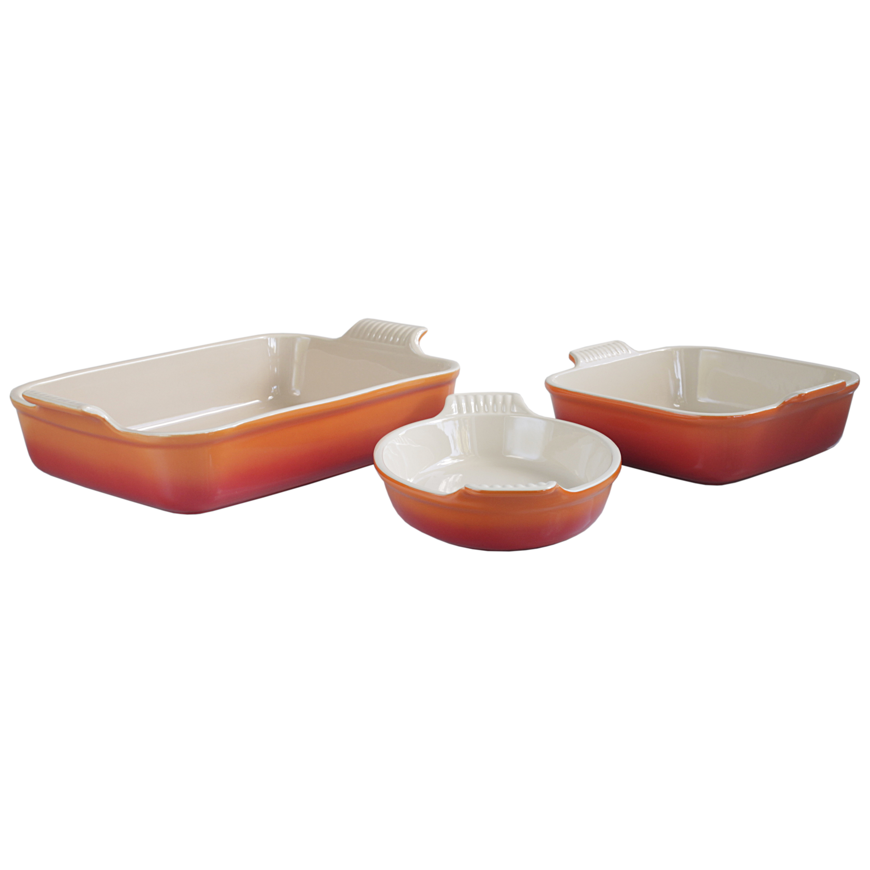 Le Creuset Heritage Flame Stoneware 3 Piece Bakeware Set