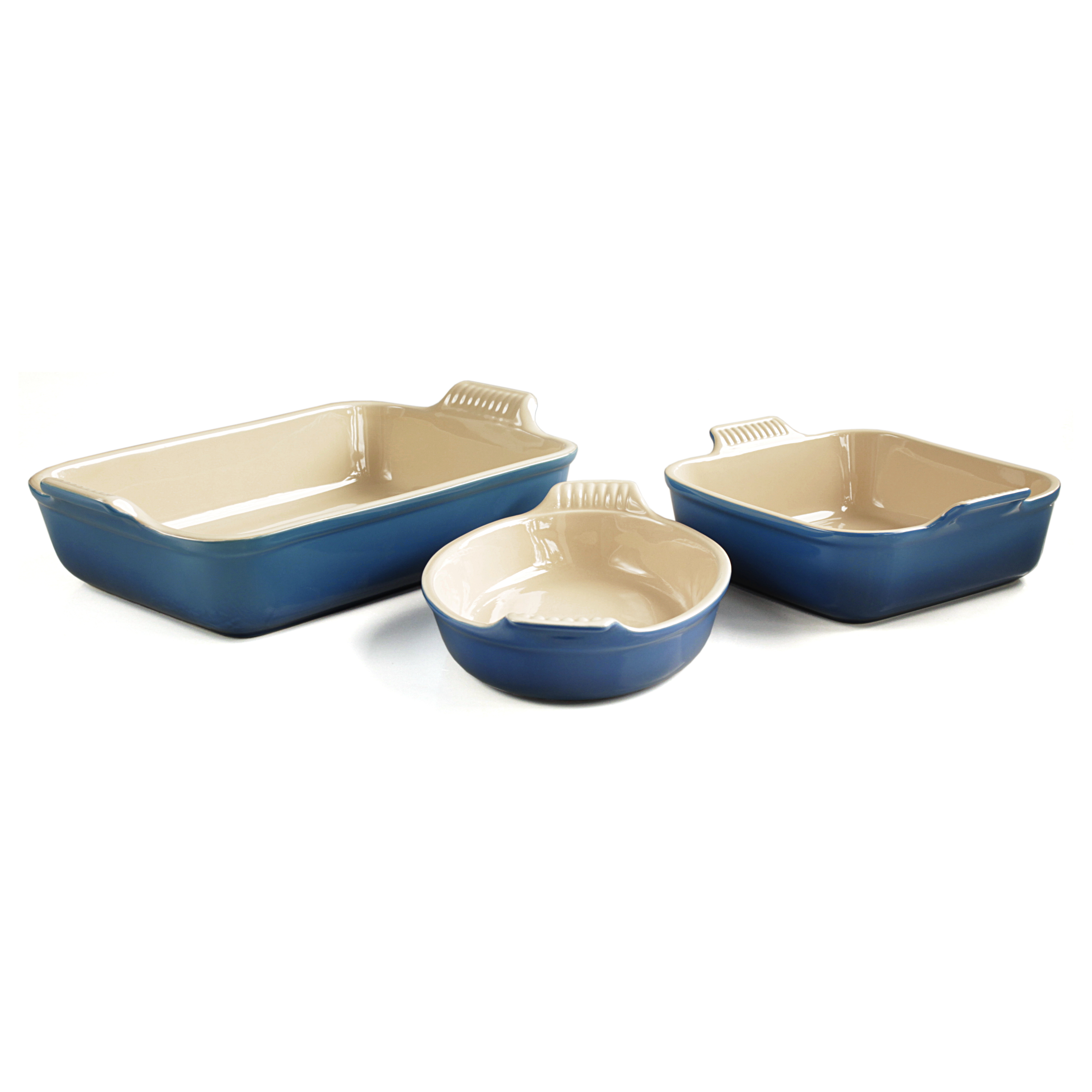 Le Creuset Heritage Marseille Blue Stoneware 3 Piece Bakeware Set