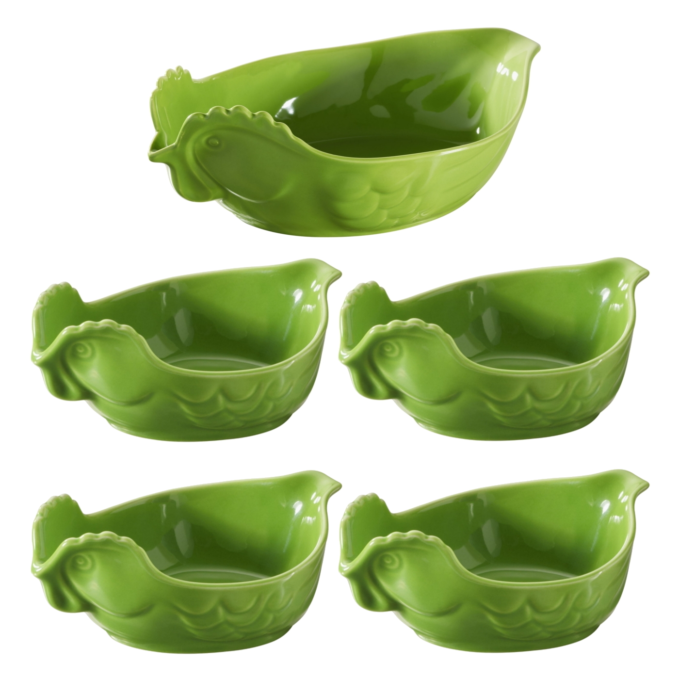 Revol Five Piece Happy Cuisine Poultry Roaster and Four Poultry Side Dishes Lime Green