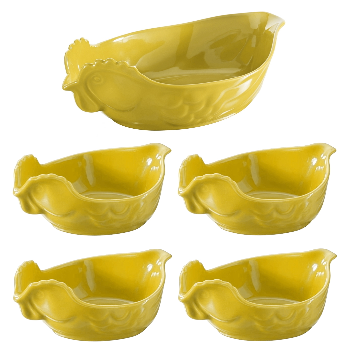 Revol Five Piece Happy Cuisine Poultry Roaster and Four Poultry Side Dishes Seychelles Yellow