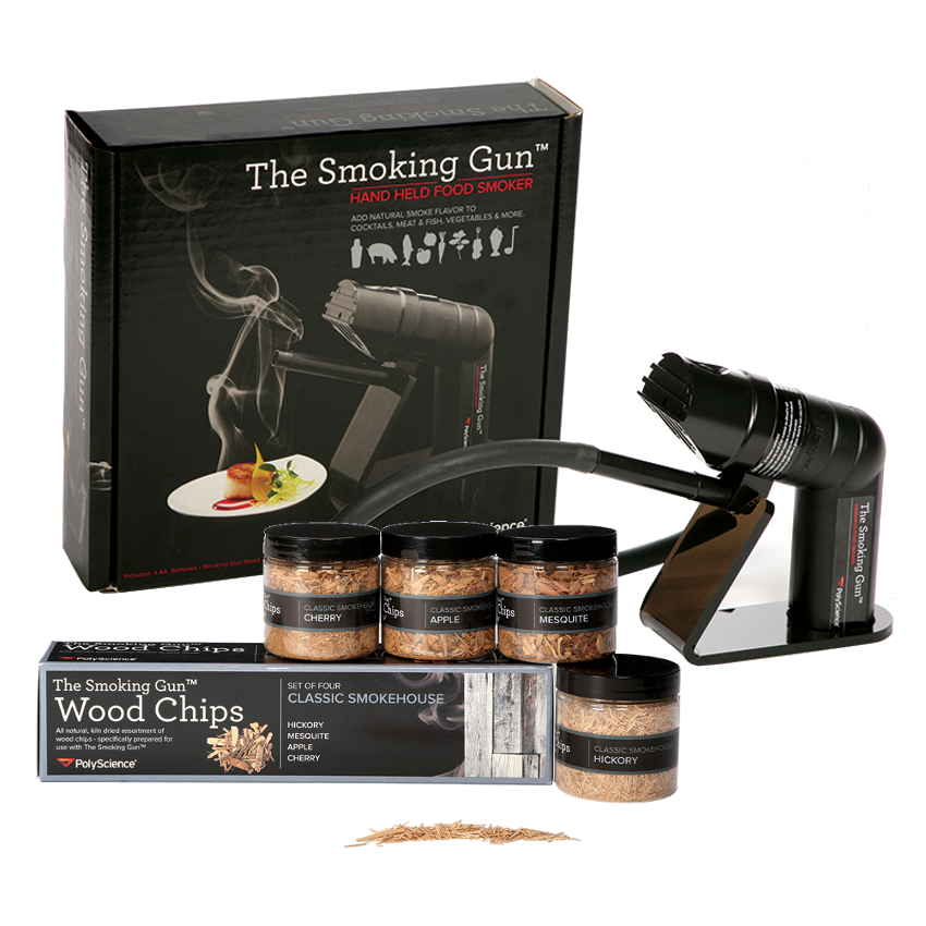 The Smoking Gun handheld food smoker with Classic Smokehouse Wood Kit (Includes a 4oz jar of Hickory, Mesquite, Applewood and Cherrywood wood chips)