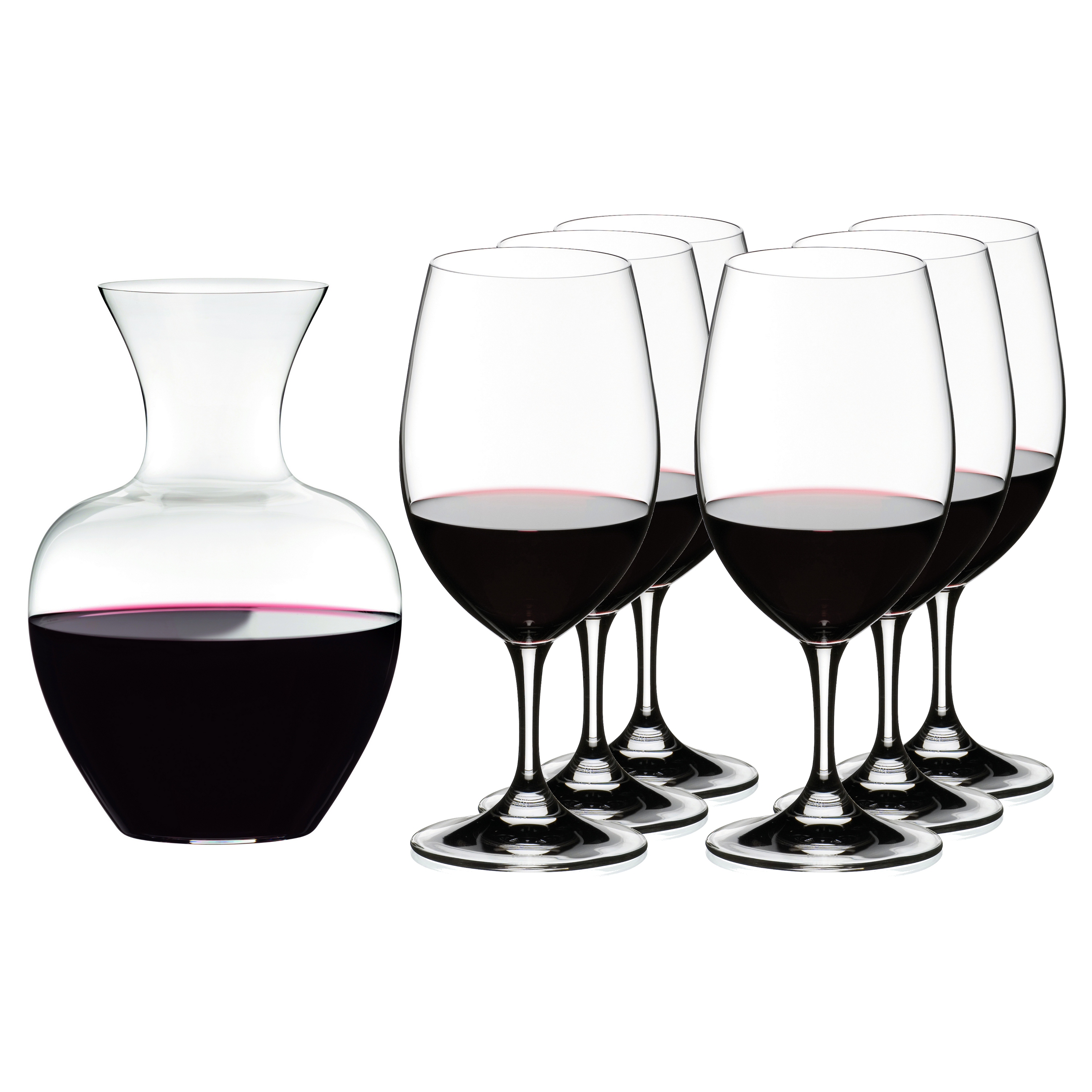 Riedel 7 Piece Ouverture Magnum Stemmed Wine Glasses with Apple Decanter Set