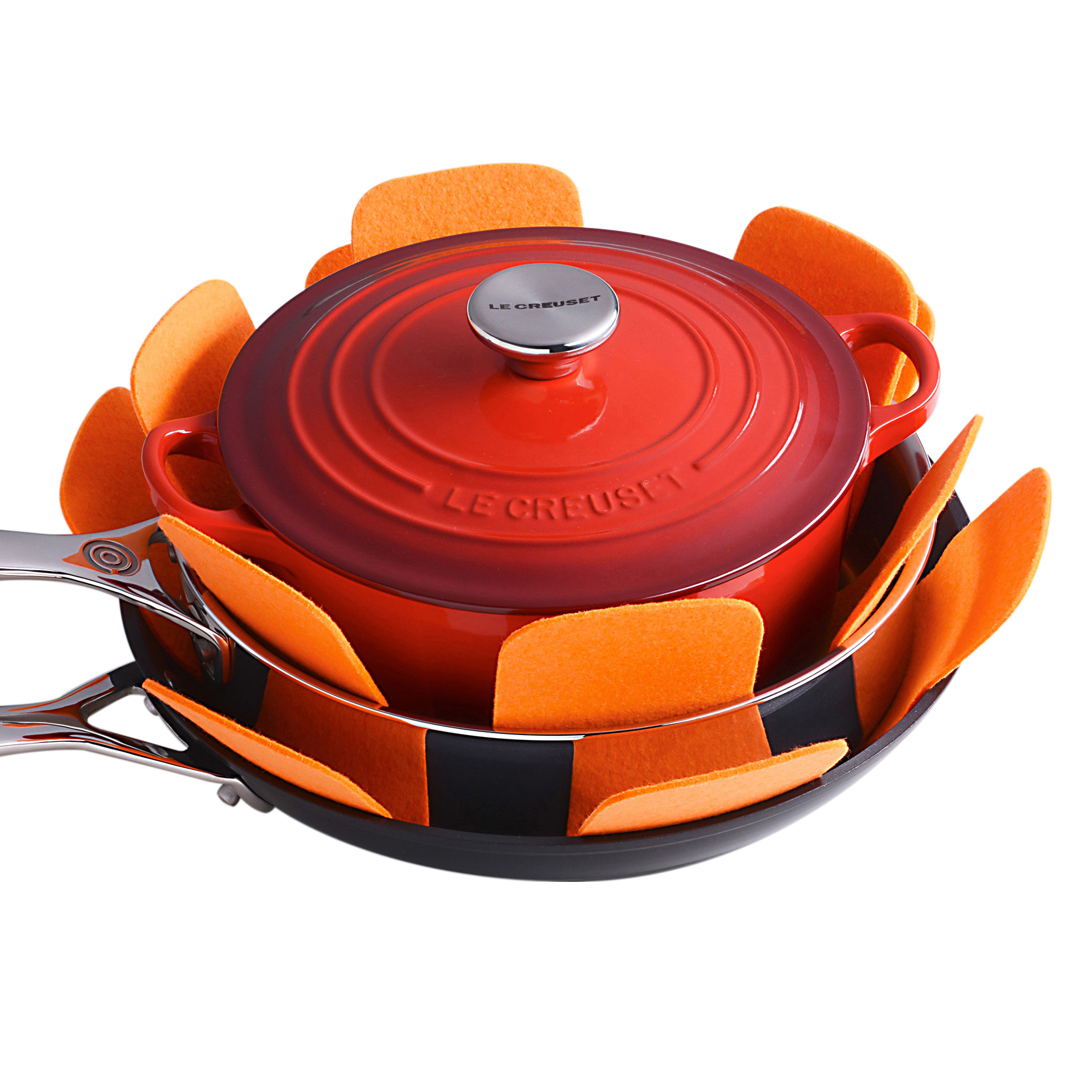 Le Creuset Flame Felt 16 Inch Pan Protector, Set of 3