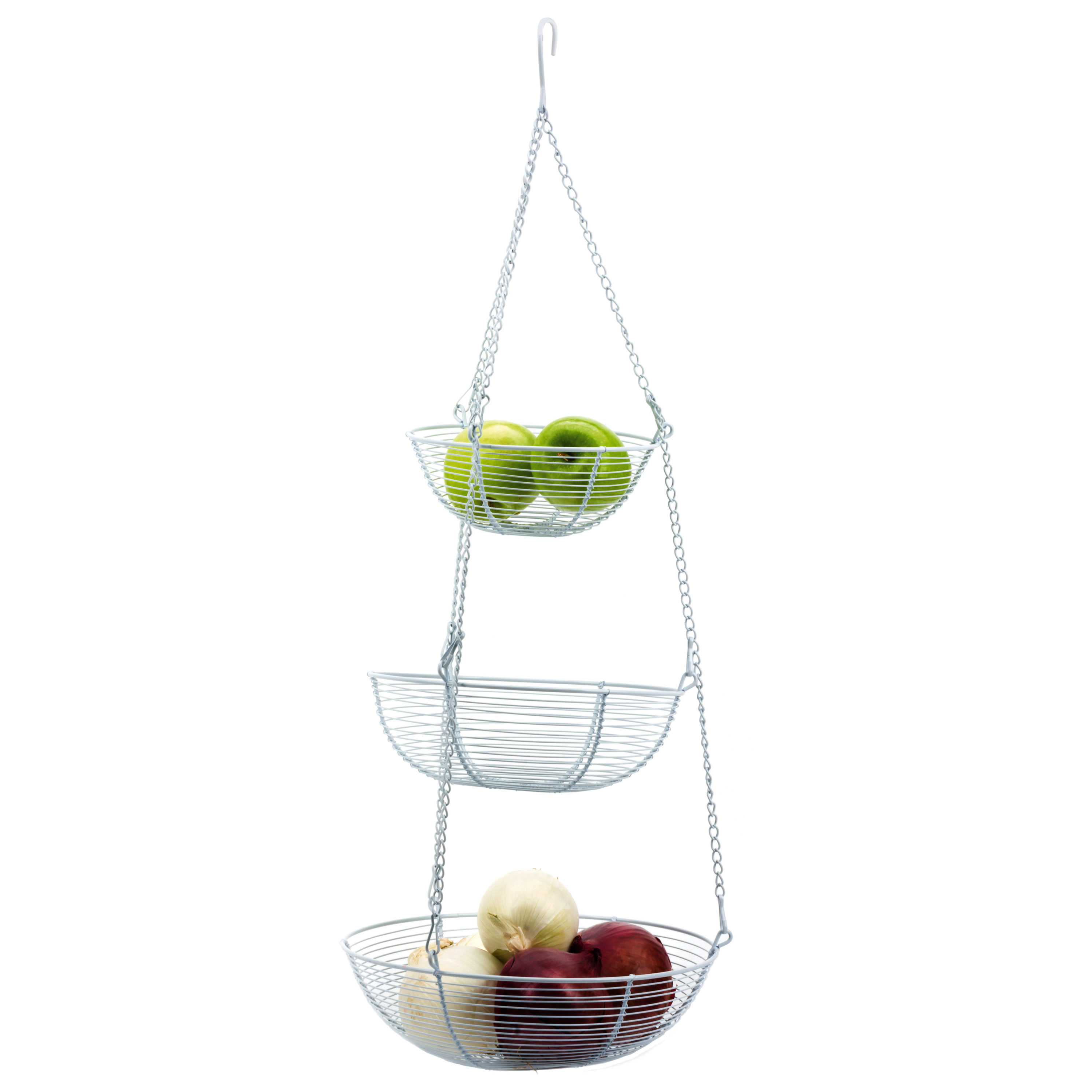 RSVP White 3-Tier Hanging Fruit and Vegetable Basket