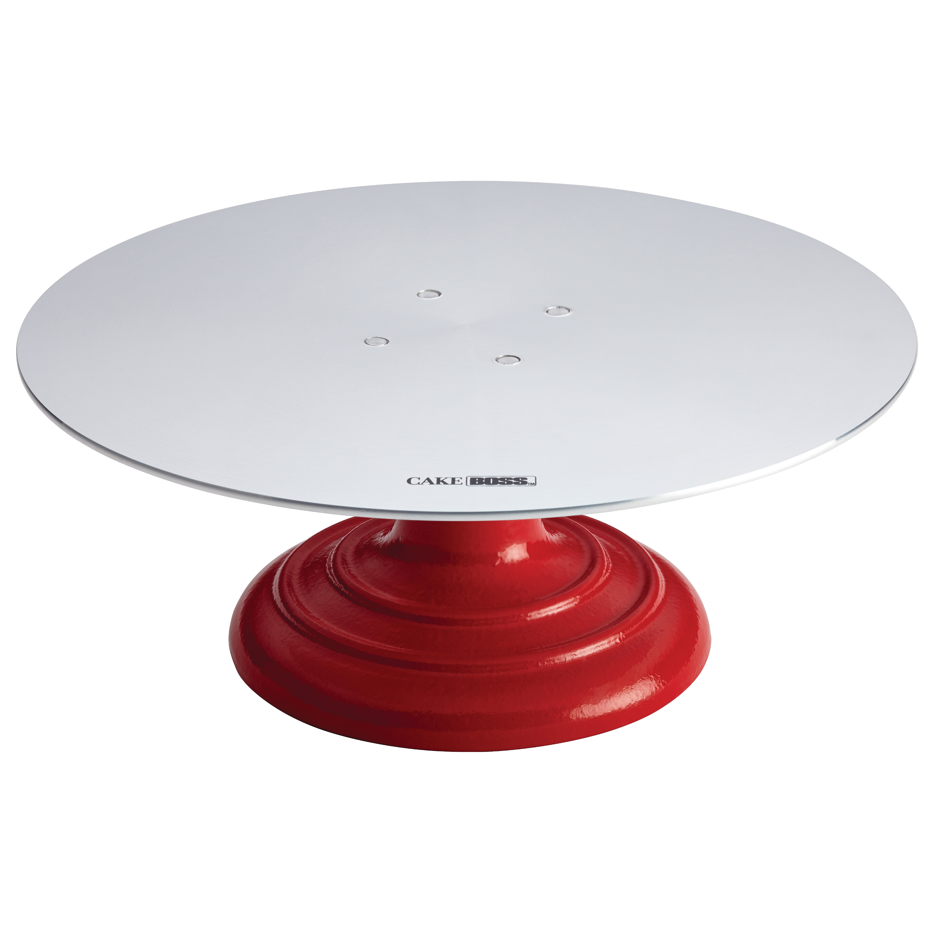 Cake Boss Red Cast Iron Decorating Turntable with Aluminum Top