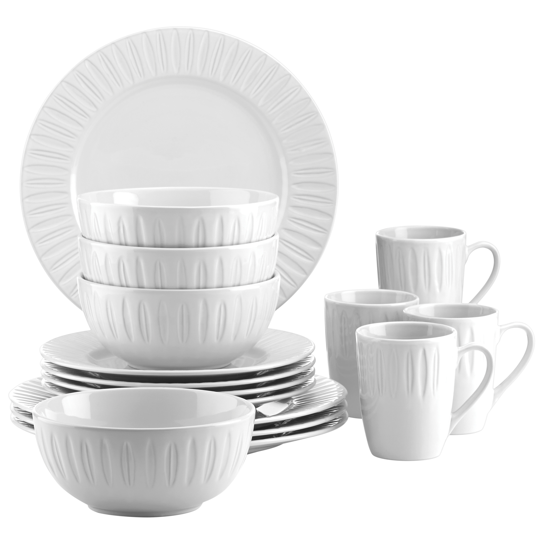 Dansk The Burbs Carved Lily White 16 Piece Dinnerware Set
