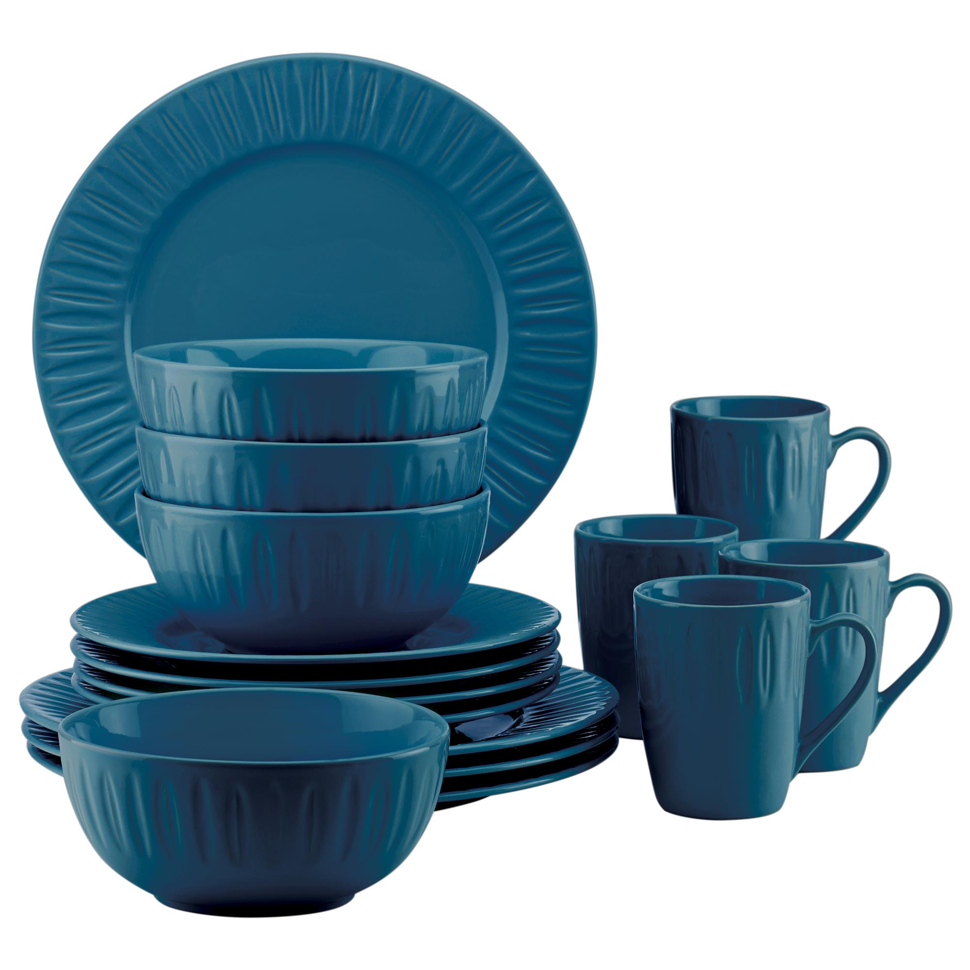 Dansk The Burbs Carved Medium Blue 16 Piece Dinnerware Set