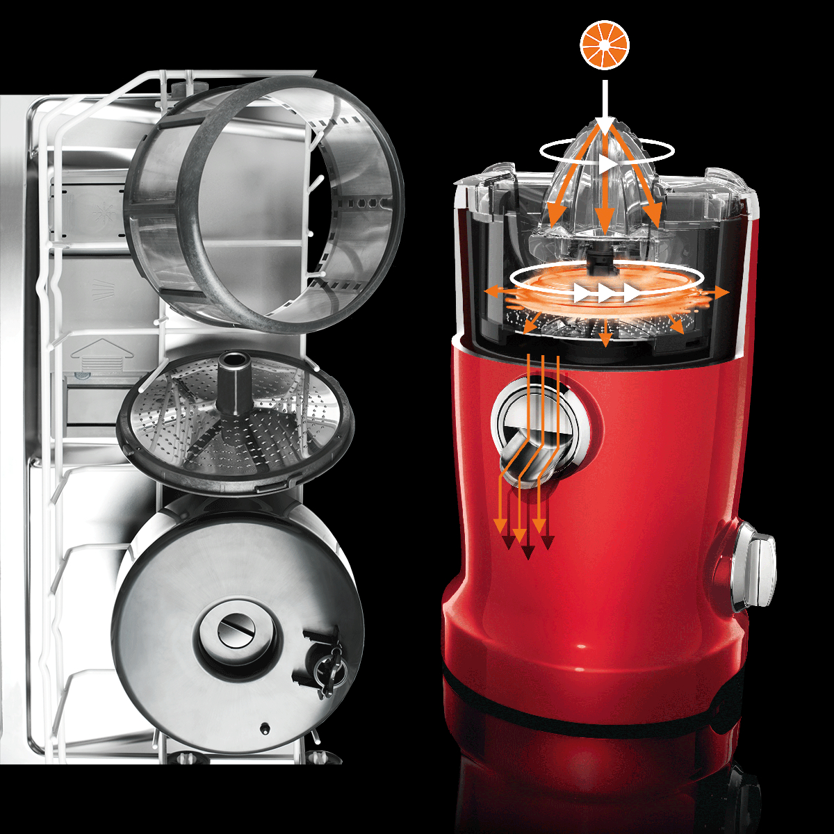 Novis Vita Juicer Cherry Red 4-in-1 Multi-Function Electric Juicer