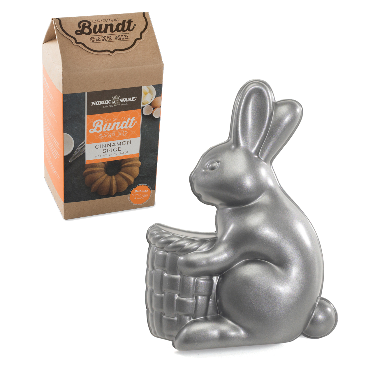 Nordic Ware Easter Bunny Cast Aluminum Pan with Cinnamon Spice Cake Mix