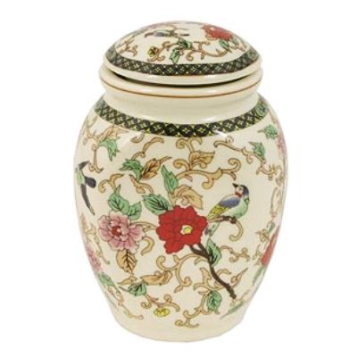 Asian Porcelain Yixing Bird and Flower Tea Canister