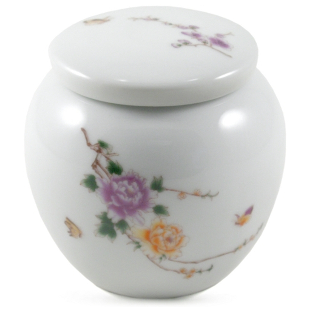 White with Hand Painted Flowers Porcelain Tea Canister