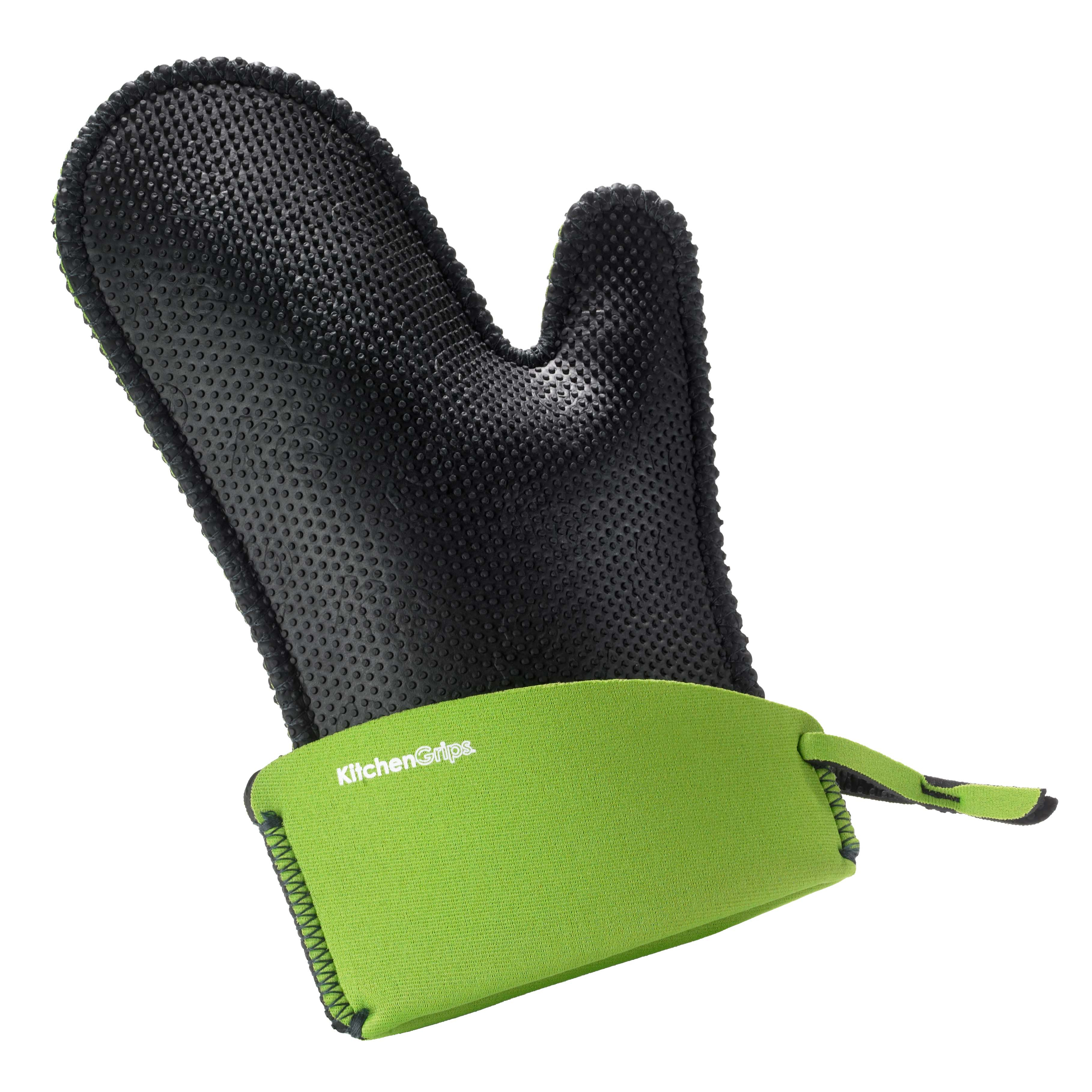 KitchenGrips Small Black Chef's Mitt with Lime Cuff