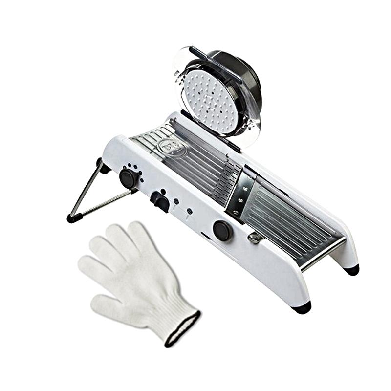 Progressive PL8 Professional Mandoline with Victorinox Performance Shield 3 Cut Resistant Glove - XL, White and Black