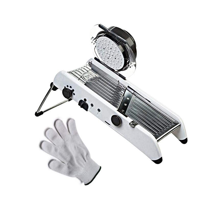 Progressive PL8 Professional Mandoline with Victorinox Ultimate Shield 2 White Cut Resistant Glove – Medium