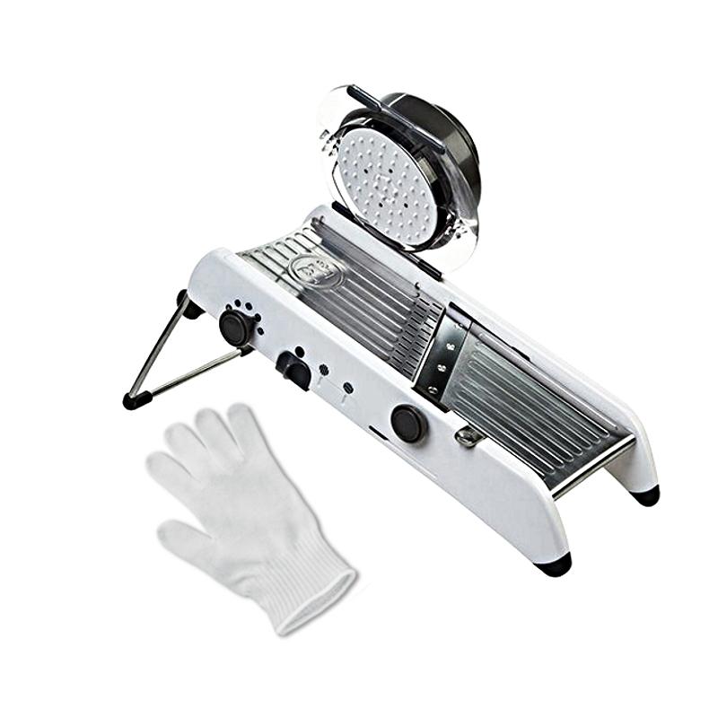 Progressive PL8 Professional Mandoline with Victorinox UltimateSHIELD Cut Resistant Glove - Large, White