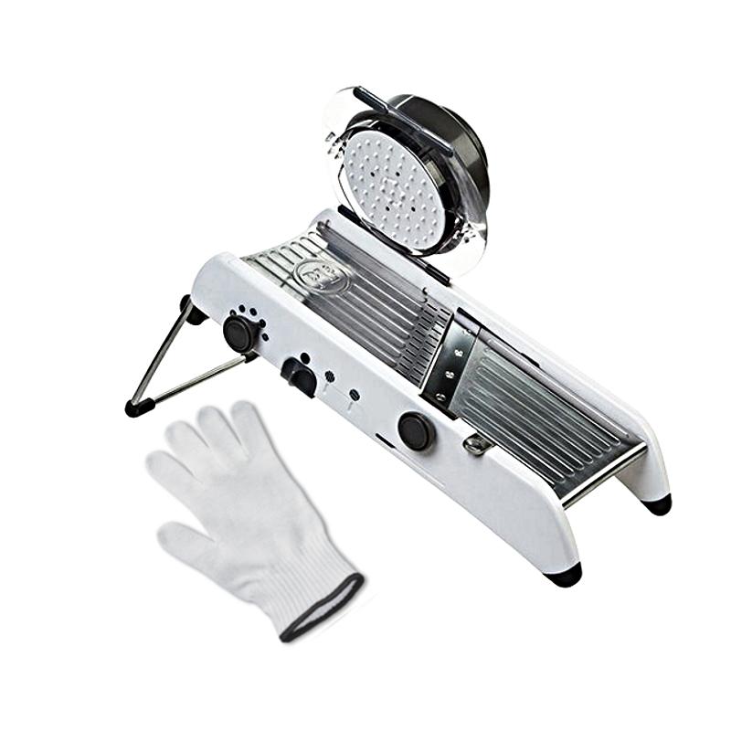 Progressive PL8 Professional Mandoline with Victorinox UltimateSHIELD Cut Resistant Glove - XL, White and Black