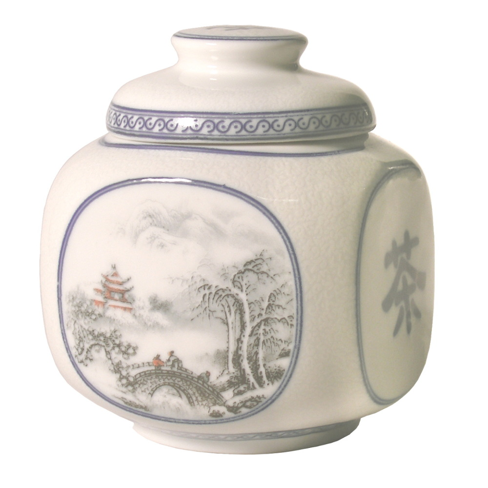 White and Blue Asian Symbol Porcelain Tea Canister