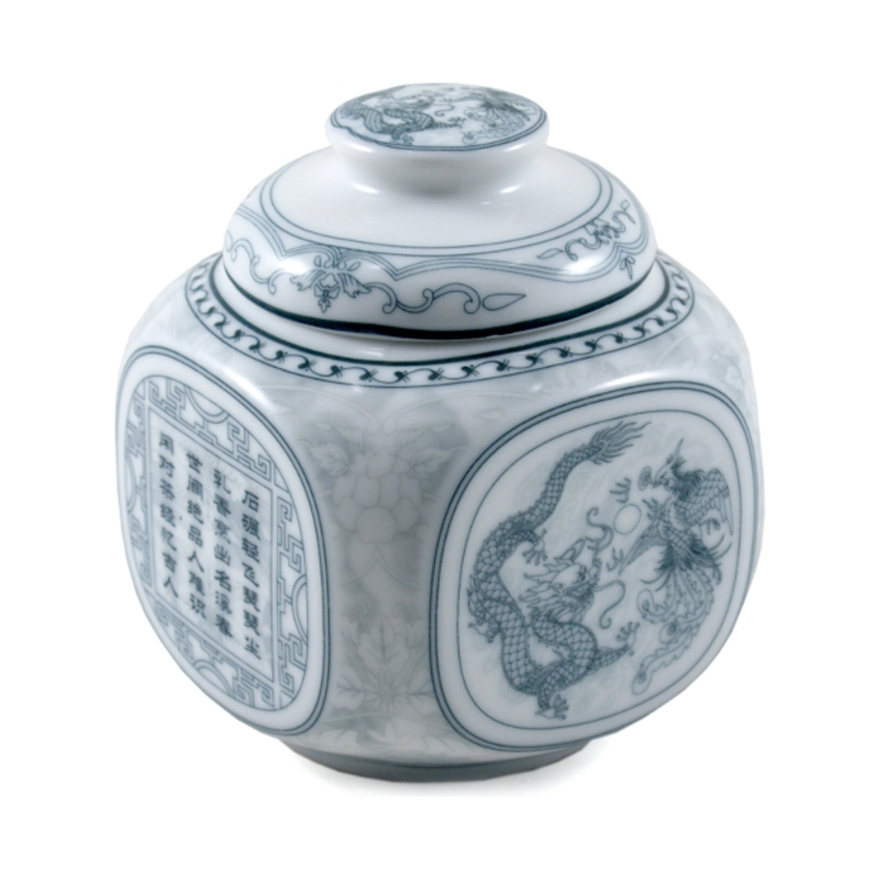 White Hand Painted Asian Symbol Porcelain Tea Canister