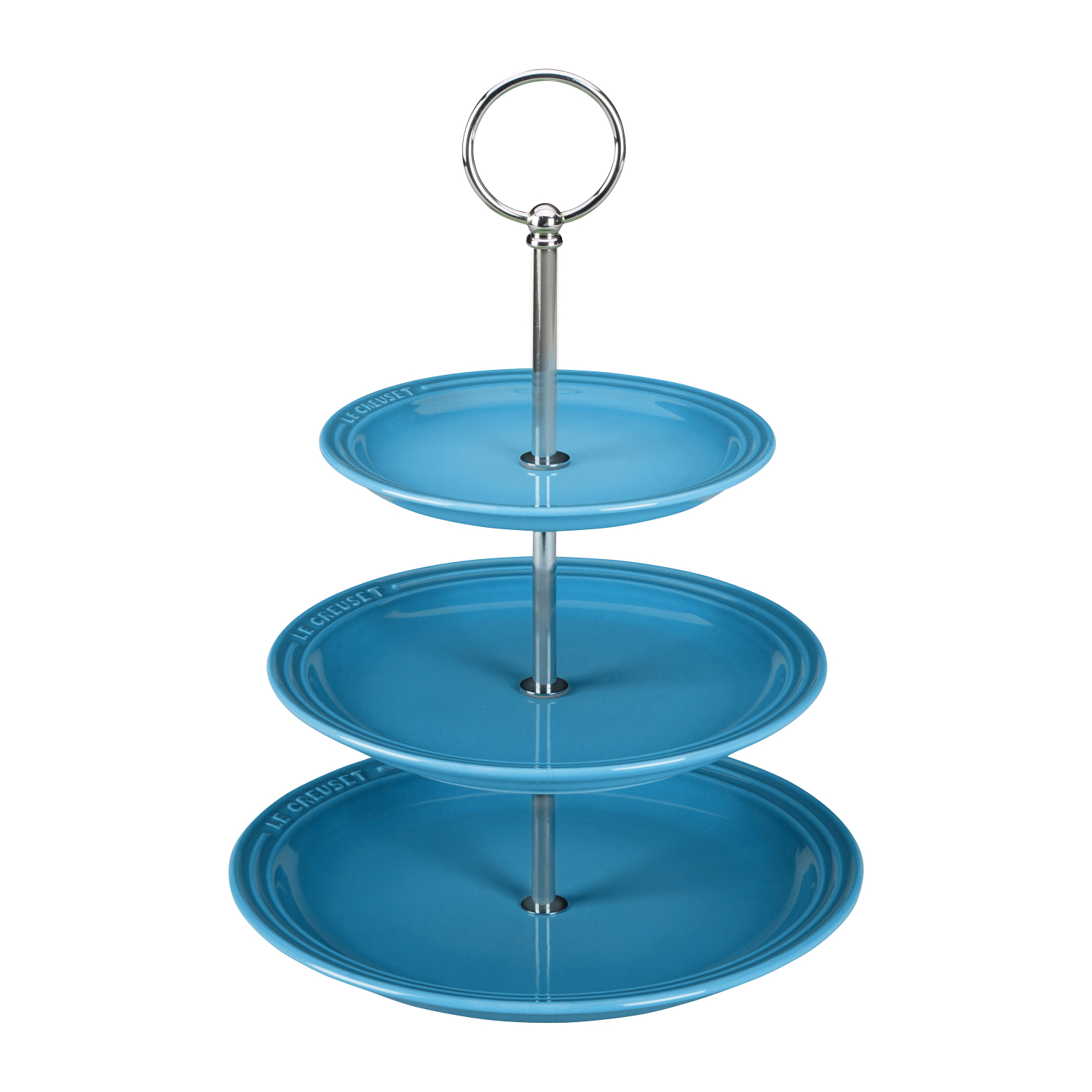 Le Creuset Caribbean Stoneware 14.5 Inch 3-Tiered Serving Stand