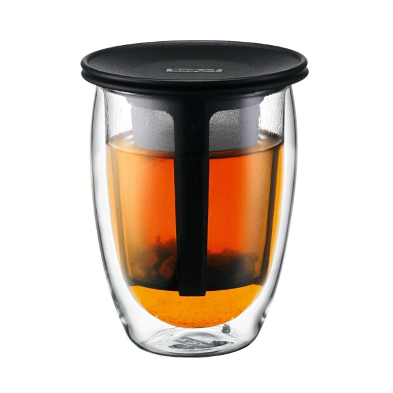 Bodum Tea For One Black 12 Ounce Double Wall Glass Tea Strainer