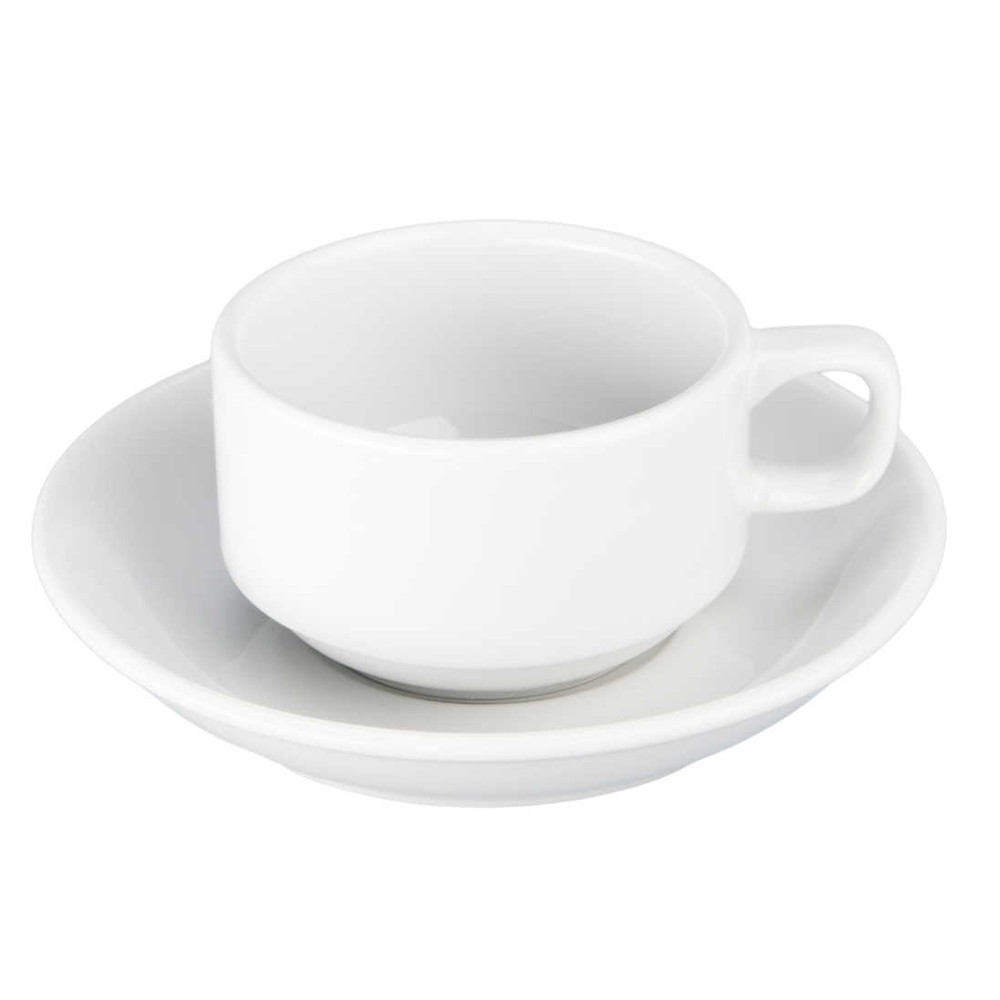 BIA Bistro White Porcelain 4 Ounce Demitasse Cup and Saucer Set
