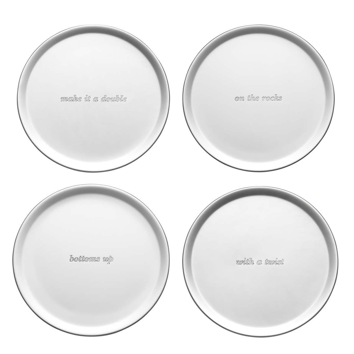 kate spade new york Silver Street Silver Plate 4 Piece Coaster Set