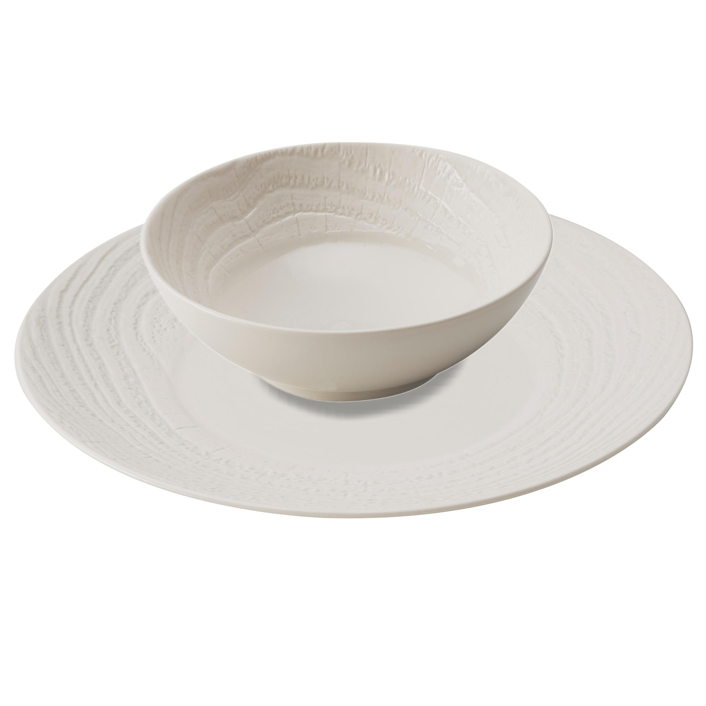 Revol Arborescence Ivory Porcelain Charger Plate and Soup Bowl Set