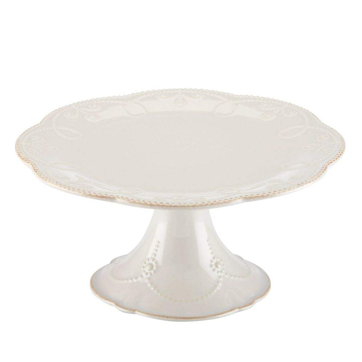 Lenox French Perle White Pedestal 10.5 Inch Cake Plate