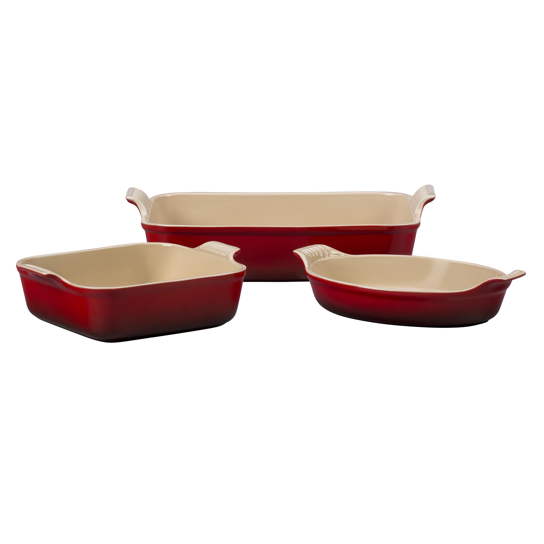 Le Creuset Heritage Cherry Stoneware 3 Piece Bakeware Set