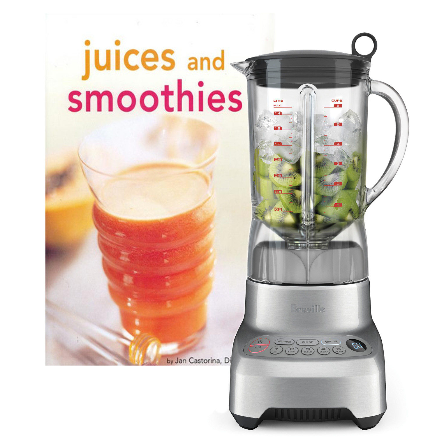 Breville Hemisphere Control BBL605XL Stainless Steel Metal Blender with Bonus Breville Juice Fountain Duo with Bonus Hardcover Tuttle Juices and Smoothies Cookbook