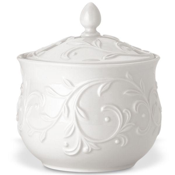 Lenox Opal Innocence Carved Porcelain 5.5 Inch Sugar Bowl