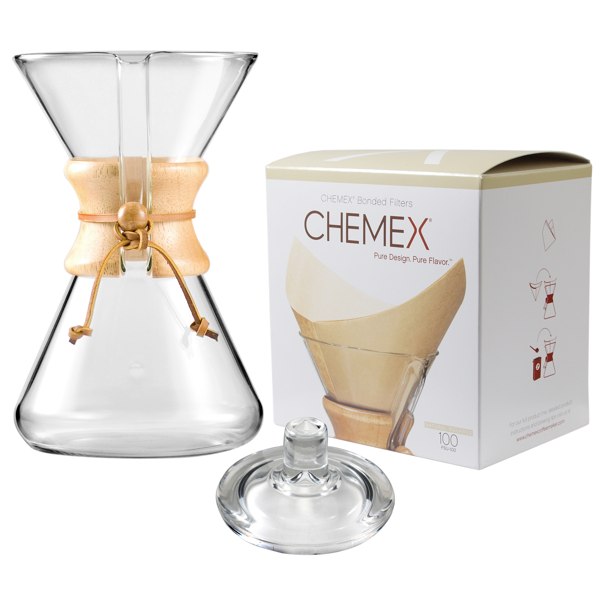 Chemex Wood Collar and Tie Glass 40 Ounce Coffee Maker with Cover and 100 Count Bonded Unbleached Pre-Folded Square Coffee Filters