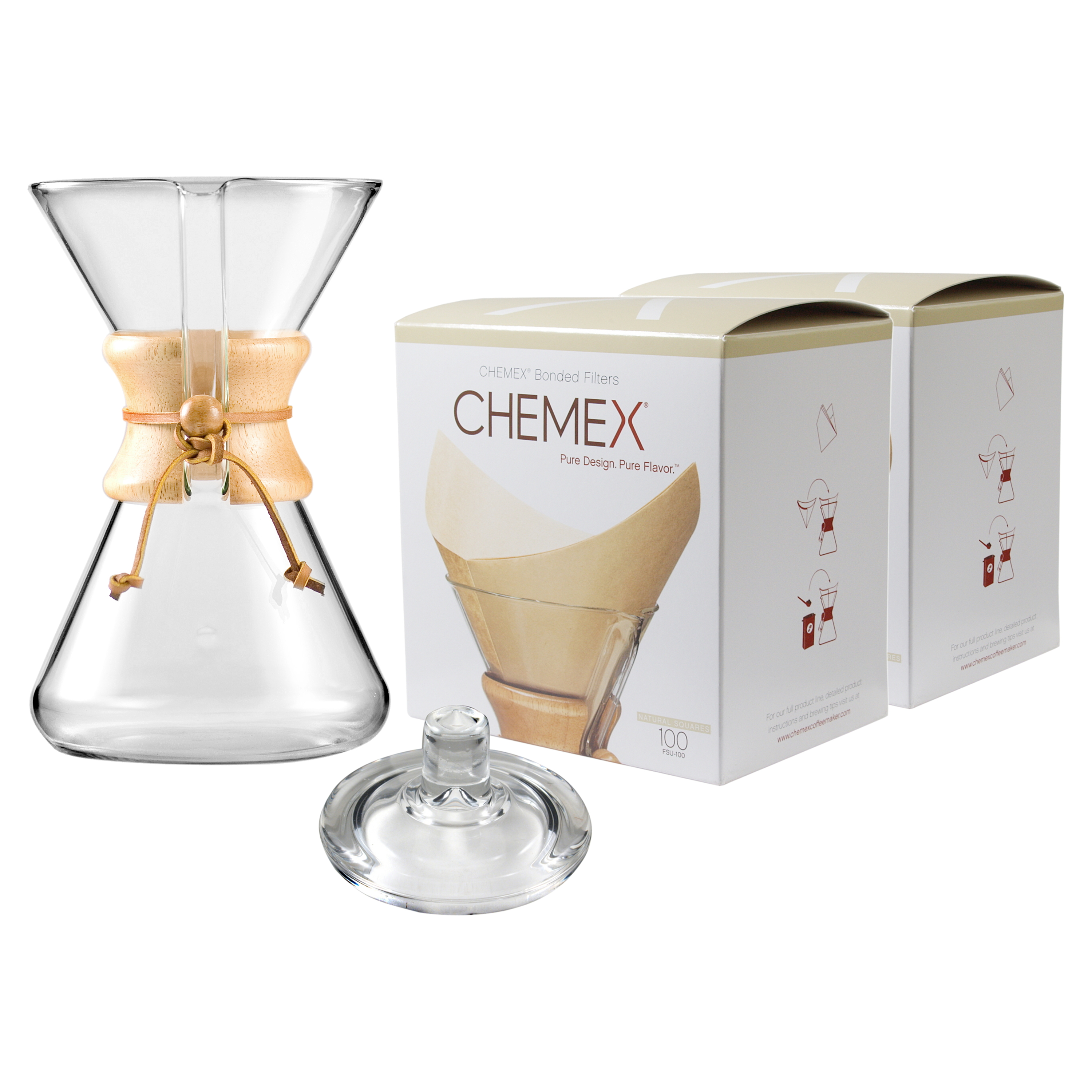 Chemex Wood Collar and Tie Glass 40 Ounce Coffee Maker with Cover and 200 Count Bonded Unbleached Pre-Folded Square Coffee Filters