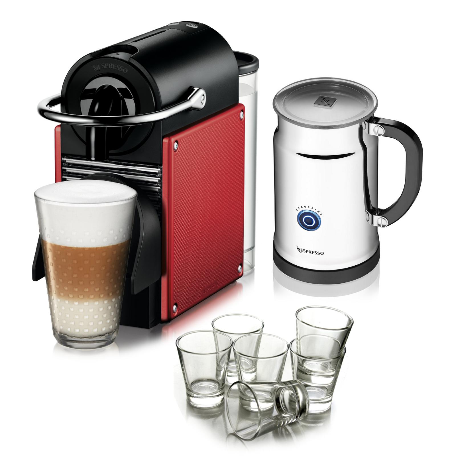 Nespresso Pixie D60 Dark Red Espresso Machine with Aeroccino Plus Milk Frother and Free Set of 6 Italian Espresso Glasses