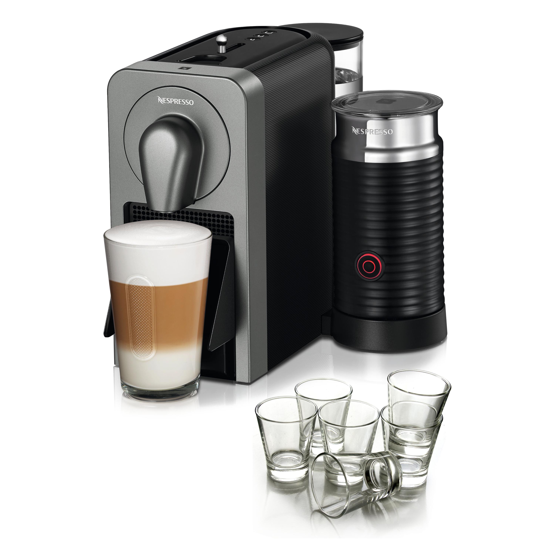 Nespresso Prodigio & Milk Frother Titan Espresso Maker with BONUS Set of 6 Espresso Glasses