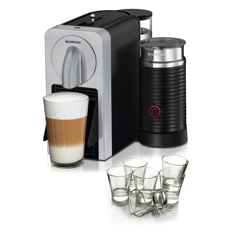 Nespresso Prodigio & Milk Frother Silver Espresso Maker with BONUS Set of 6 Espresso Glasses